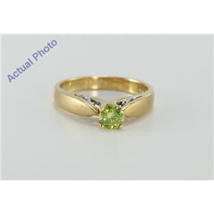 Round Diamond Solitaire Engagement Ring, 18k Two Tone Gold, 0.46 Ct, (Green (Color Irradiated) Color, VS2 Clarity)
