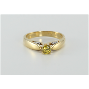 Round Diamond Solitaire Engagement Ring, 18K Two Tone Gold, 0.32 Ct, (Fancy Yellowish Green (Irradiated), VS2 )
