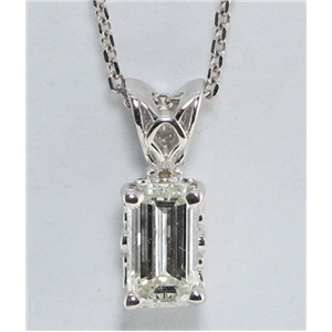 Emerald Diamond Solitaire Pendant Necklace, 14k White Gold (0.55 Ct, H Color, VVS1 Clarity)