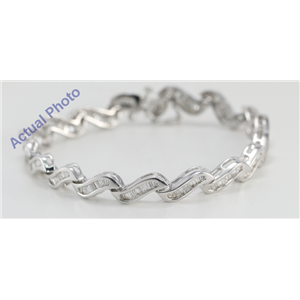 14k White Gold Baguette Cut Modern Style Diamond Fashion Bracelet (2.75 Ct, G-H Color, SI2 Clarity)