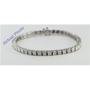14k White Gold Princess Cut Classic Diamond Tennis Bracelet (8.8 Ct, G-H Color, SI Clarity)