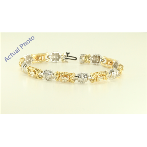 14K White and Yellow Gold Millenial Sunrise and Round cut two tone fashion link bracelet (4.5 Ct I-J & G-H ,VS)