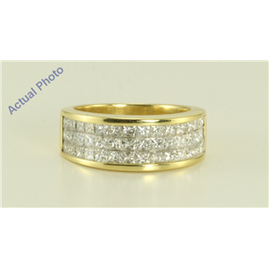 18k Yellow gold Invisible setting Princess cut Diamond fashion engagement ring (2.1 Ct F ,VVS)