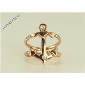 14k Rose gold Fashionable Anchor designed ring (0.42 Ct G-H ,SI1-2)