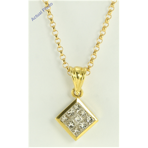 18K Yellow gold Invisible setting Princess cut Diamond fashion pendant with chain (0.5 Ct G ,VS1)