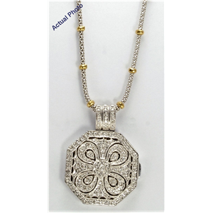 14k White and Yellow Gold vintage style diamond Locket pendant with two tone chain (0.4 Ct G-H ,SI2)