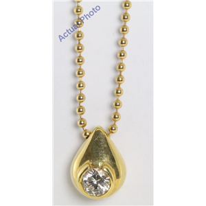 18k Yellow Gold Round Bezel Setting Vintage Twenties Style Diamond Pear Drop Pendant (0.5 Ct, H , VS )