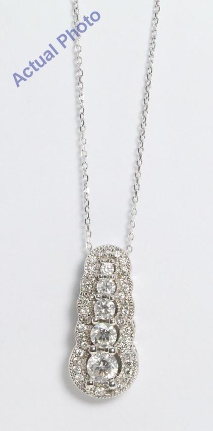2a3c57657b91e9 14k White Gold Round Art D?cor Classic Five Stone Pavee Bezel Set Diamond  Pendant (0.66 Ct, G-h , VS )