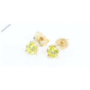 14k Yellow Gold Round Classic Yellow Solitaire Diamond Stud Earrings (0.75 Ct, Fancy Yellow(Irradiated), SI )