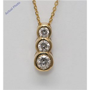 Round Diamond Solitaire Pendant Necklace 14k Yellow Gold 0.5 Ct,I Color,SI1 Clarity