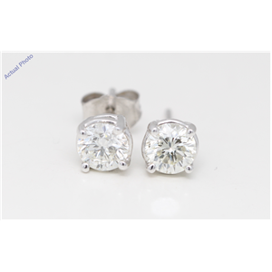 14k White Gold Round Diamond Four-Prong Setting Classic Fri ct ion Back Studs (0.91 ct F VS2 Clarity)