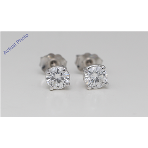 14k White Gold Round Diamond Four-Prong Setting Classic Fri ct ion Back Studs (0.92 ct D VVS1 Clarity)