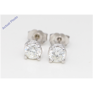 14k White Gold Round Diamond Four-Prong Setting Classic Friction Back Stud Earrings (1 Ct H SI1 Clarity)