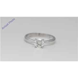 14k White Gold Round Diamond Four-Prong Set Classic Solitaire Engagement Ring (0.73 Ct H Color SI1 Clarity)