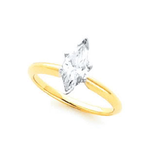 Marquise Diamond Solitaire Engagement Ring 14k Yellow Gold (1.53 Ct, I-J Color, SI3(Laser Drilled) Clarity) IGL Certified