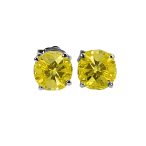 Round Diamond Stud Earrings 14k White Gold (0.9 Ct, Fancy Yellow(Color Irradiated) Color, I1-I2 Clarity)