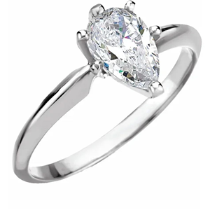 Pear Diamond Solitaire Engagement Ring 14k  ( 0.55 Ct, D Color, VVS1 Clarity IGC Certified)