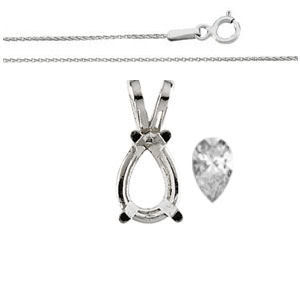 Pear Diamond Solitaire Pendant Necklace 14k White Gold ( 1 Ct, h, SI1 WGI Certified)