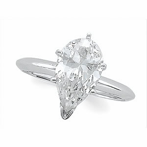 Pear Diamond Solitaire Engagement Ring 14k White Gold (1.4 Ct, k Color, SI1 Clarity) WGI Certified