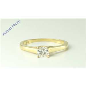 14k Yellow Gold Radiant Diamond Modern classic square four prong setting engagement ring (0.47 Ct, J, I1 )