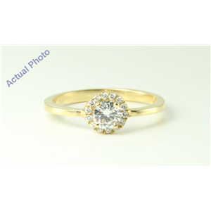14k Yellow Gold Round Modern classic four prong diamond set bezel engagement ring (0.46 Ct, F , VS1 )