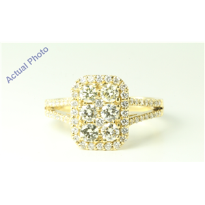 14k Yellow Gold Round Victorian style multi stone square diamond set shank anniversary ring (1.21 Ct, J, VS2)