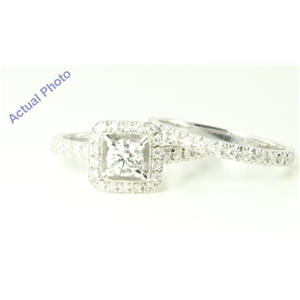 14k White Gold Round Sqaure bezel set solitaire engagement ring with diamond set shank (0.85 Ct, J , VS2 )