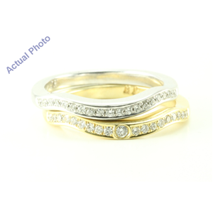 14k White& Yellow-Gold Round Diamond Two b& bi- wavy eternity stacking classic wedding ring(0.32 Ct, F, VS2)