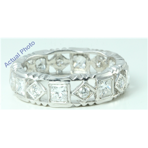 14k White Princess Diamond Alternating round square lattice style full-eternity wedding b&(1.26ct, F, VS1)
