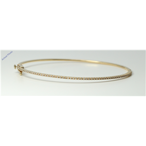 18k Yellow Gold Round Diamond Modern contemporary multi-stone thin claw set bangle (0.37 Ct, I , SI1 )
