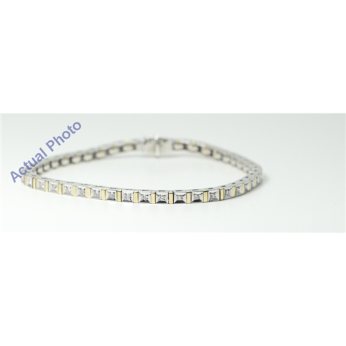 14k White & Yellow Gold Round Modern square mirror link diamond set tennis bracelet(0.5ct, G, SI1)