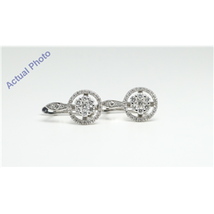 14k White Round seven stone cluster encircled with diamond set halo lever-back earrings(0.24ct, G, SI2)