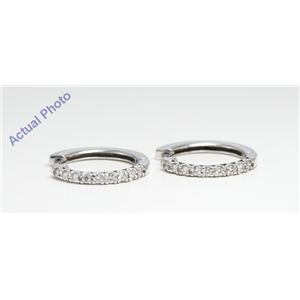 "14k White Gold Round classic half-hoop ""huggie style"" single row diamond prong set earrings (0.36 Ct, F, I1 )"