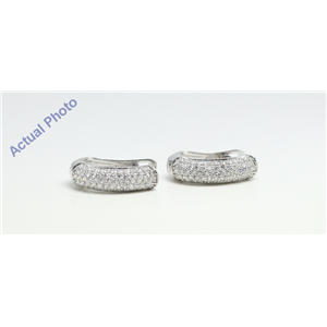 "14k White Gold Round Half-hoop ""huggie style"" multi row diamond set earrings (0.7 Ct, F Color, VS1 Clarity)"