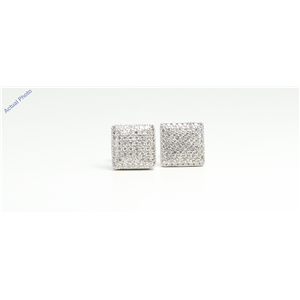 14k White Gold Round Contemporary square multi-stone diamond pave set butterfly post earring(0.52 Ct, I, VS2)