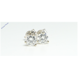 14k White Gold Round Solitaire three claw diamond set butterfly post earring (1.42 Ct, H Color, SI2 Clarity)