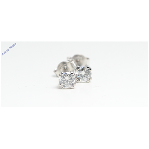 14k White Gold Round Solitaire double prong set butterfly post diamond earring (0.52 Ct, H , SI3 )