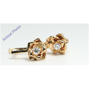 14k Yellow Gold Round Contemporary rose petal diamond solitaire lever-back earrings (0.22 Ct, I , SI1 )