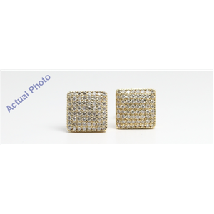 14k Yellow Gold Round Contemporary square multi-stone diamond pave set butterfly post earring(0.52ct, I, VS2)