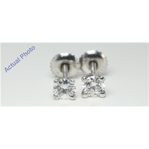 14k White Gold Round Cut Solitaire claw set threaded screw post diamond earring (0.8 Ct, H Color, VS1 Clarity)