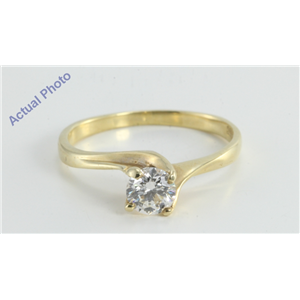 14k Yellow Gold Round Twist Modern Classic Cool Contemporary Diamond Engagement Ring (0.46 Ct, H, VS2 )