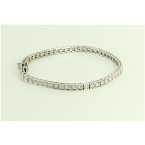14k White Round Modern Square-Link Mirror-Finish Art Deco Style Diamond Tennis Bracelet(2.44ct, H, VS2)