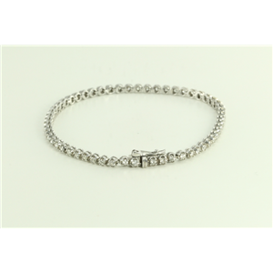 14k White Gold Round Modern Classic -Link Mirror-Finish Fifties Style Diamond Tennis Bracelet(1.81ct, H, SI1)
