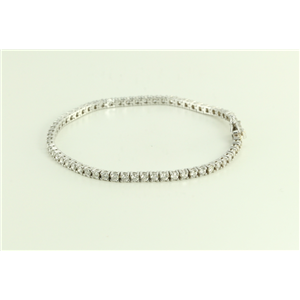 14k White Gold Round Modern Contemporary Classic Timeless Diamond Tennis Bracelet (2.56 Ct, G , SI2 )
