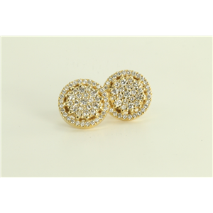 14k Yellow Gold Round Classic Contemporary Disc Flower Diamond Cluster Earrings (0.86 Ct, F , SI1 )