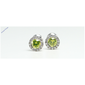 14k Gold bezel set threaded screw post earring with diamond set bezel (Yellow-Green(Treated) & White, VS1)