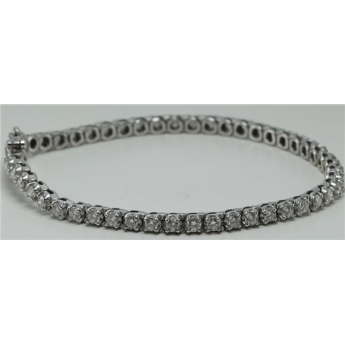 14k White Gold Round Cut Classic diamond tennis bracelet (3.3 Ct, H Color, I1 Clarity)