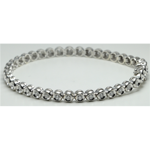 14k White Gold Round Bezel Setting Modern mirror polished link diamond tennis bracelet (1.05 Ct, H, SI2-SI3 )