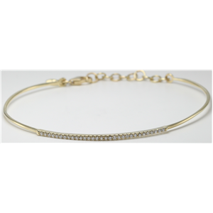 14k Yellow Gold Round Cut Classic flexible wire diamond set bar bracelet (0.25 Ct, H Color, SI2-SI3 Clarity)