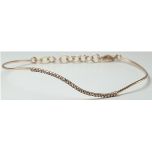 14k Rose Gold Round Classic wavy-curved flexible wire diamond set bar bracelet (0.25 Ct, H , SI2-SI3 )